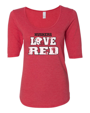 "Women's Nebraska Cornhuskers ""Huskers LOVE RED"" Helmet 1/2 Sleeve Scoop Neck Tri-Blend Premium Top"