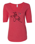"Women's Nebraska Cornhuskers ""LOVE RED"" Hearts 1/2 Sleeve Scoop Neck Tri-Blend Premium Top"