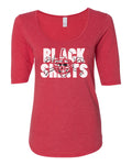 Women's Nebraska Cornhuskers Football BLACKSHIRTS on Red 1/2 Sleeve Scoop Neck Tri-Blend Premium Top