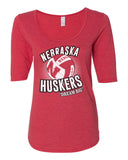 "Women's Nebraska Huskers Volleyball ""Dream Big"" 1/2 Sleeve Scoop Neck Tri-Blend Premium Top"
