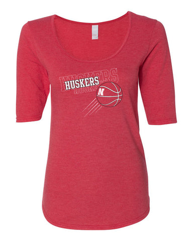 "Women's Nebraska Huskers Basketball ""Huskers x 3"" 1/2 Sleeve Scoop Neck Tri-Blend Premium Top"