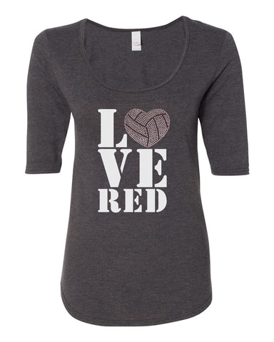 "Women's Stacked ""LOVE RED"" Rhinestone Volleyball ½ Sleeve Scoop Neck Tri-Blend Premium Top"