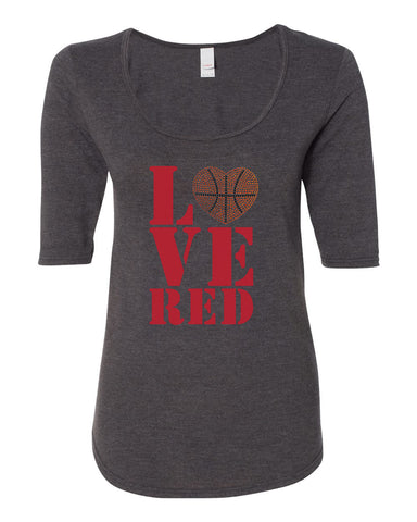 "Women's Stacked ""LOVE RED"" Rhinestone Basketball ½ Sleeve Scoop Neck Tri-Blend Premium Top"