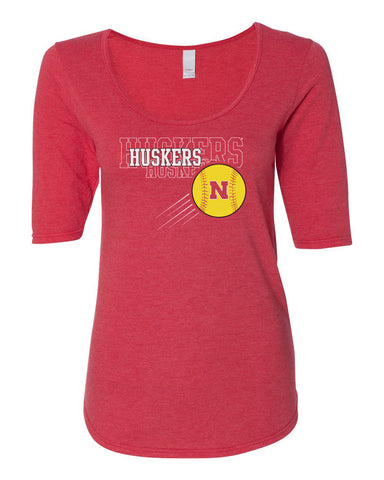 Women's Nebraska Huskers x 3 Softball 1/2 Sleeve Scoop Neck Tri-Blend Premium Top