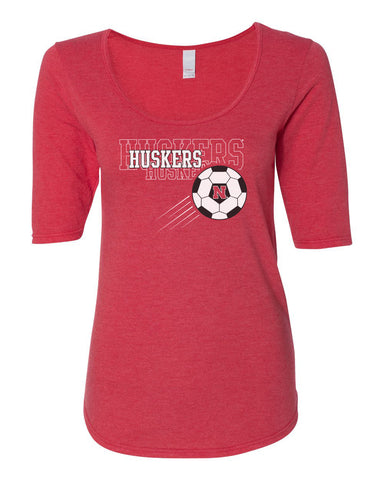 Women's Nebraska Huskers Soccer 1/2 Sleeve Scoop Neck Tri-Blend Premium Top