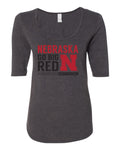 "Women's Nebraska ""Expect Excellence"" 1/2 Sleeve Scoop Neck Tri-Blend Premium Top"