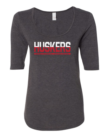 "Women's Nebraska Cornhuskers ½ & ½ ""HUSKERS"" 1/2 Sleeve Scoop Neck Tri-Blend Premium Top"