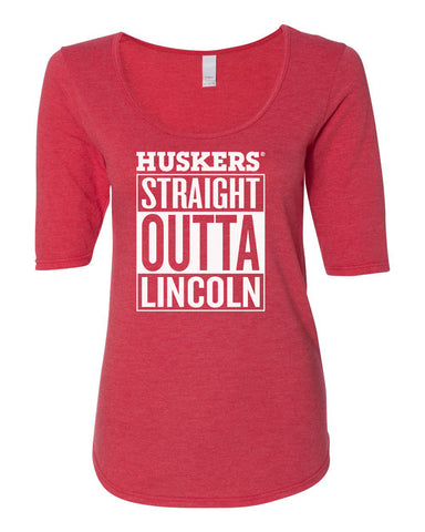 "Women's Nebraska ""HUSKERS STRAIGHT OUTTA LINCOLN"" 1/2 Sleeve Scoop Neck Tri-Blend Premium Top"