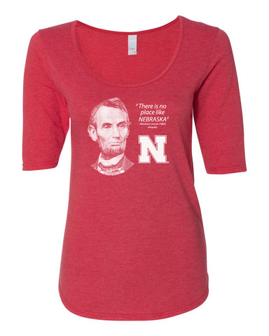 "Women's Abe Lincoln ""No place like NEBRASKA"" Huskers 1/2 Sleeve Scoop Neck Tri-Blend Premium Top"