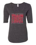 "Women's Nebraska Football with ""FROST"" Background 1/2 Sleeve Scoop Neck Tri-Blend Premium Top"