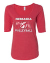 Women's Nebraska Volleyball 5-Time National Champions 1/2 Sleeve Scoop Neck Tri-Blend Premium Top