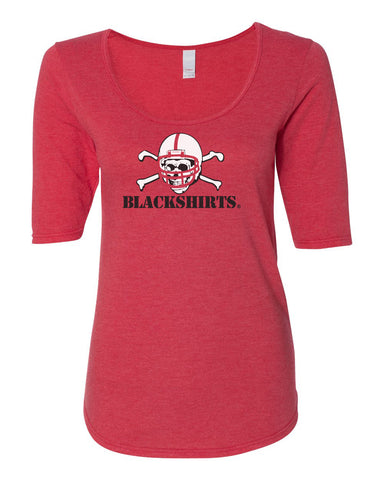 Women's 1/2 Sleeve Nebraska Huskers Scoop Neck Tri-Blend Tee Shirt - Blackshirts Logo