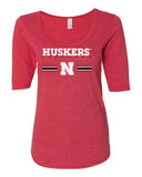 Women's Nebraska Husker Tee Shirt 1/2 Sleeve Scoop Neck Tri-Blend - HUSKERS Stripe N