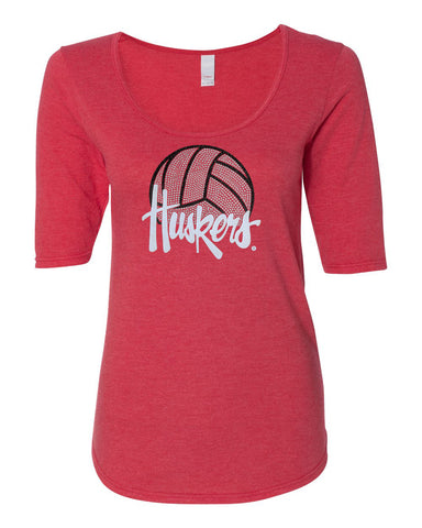 Women's Nebraska Husker Tee Shirt 1/2 Sleeve Scoop Neck - Huskers Volleyball With Glitter And Rhinestones