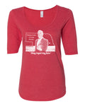 Women's Nebraska State Outline Tee Shirt 1/2 Sleeve Scoop Neck - Stay Loyal My Fans