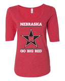 Women's Nebraska Husker Tee Shirt 1/2 Sleeve Scoop Neck - Star N GO BIG RED
