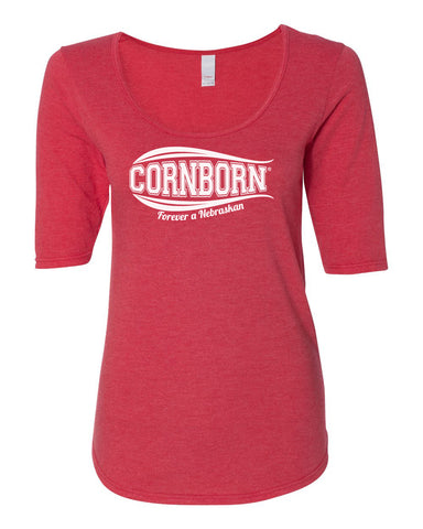 Women's Nebraska Husker Tee Shirt 1/2 Sleeve Scoop Neck - CornBorn Forever a Nebraskan