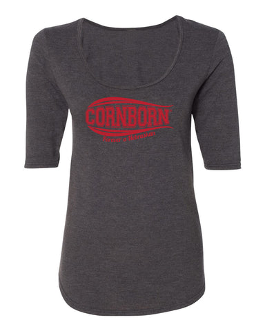 Women's Nebraska Tee Shirt 1/2 Sleeve Scoop Neck - CORNBORN - Forever a Nebraskan