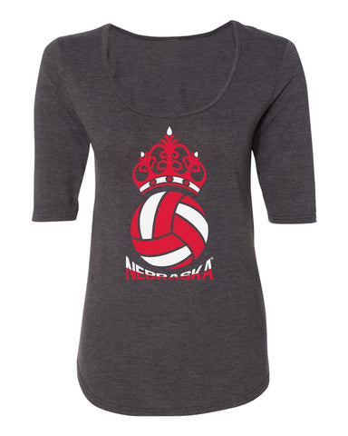 Women's Nebraska Huskers Premium Tri-Blend Scoop Neck Tee Shirt - Nebraska Huskers Volleyball Crown