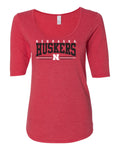 Women's Nebraska Huskers Premium Tri-Blend Scoop Neck Tee Shirt - Nebraska Huskers Stripe N