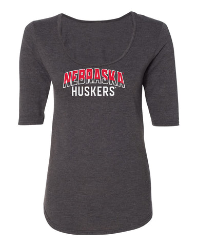 Women's Nebraska Huskers Premium Tri-Blend Scoop Neck Tee Shirt - Nebraska Arch Huskers