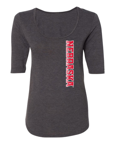 Women's Nebraska Huskers Premium Tri-Blend Scoop Neck Tee Shirt - Vertical Nebraska Red & White Fade