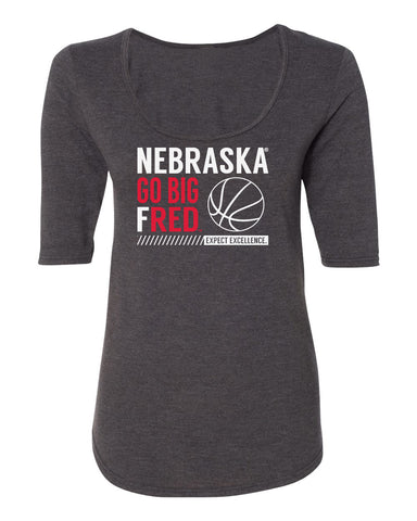 Women's Nebraska Huskers Premium Tri-Blend Scoop Neck Tee Shirt - Nebraska Basketball - GO BIG FRED