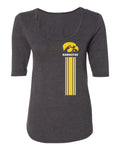 Women's Iowa Hawkeyes Premium Tri-Blend Scoop Neck Tee Shirt - IOWA Hawkeyes Vertical Stripe with Tigerhawk