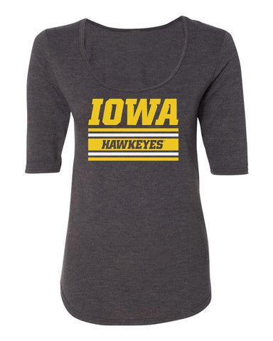 Women's Iowa Hawkeyes Premium Tri-Blend Scoop Neck Tee Shirt - Horizontal Stripe Italic Iowa HAWKEYES