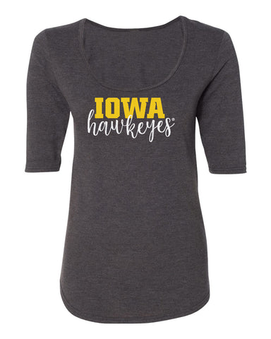 Women's Iowa Hawkeyes Premium Tri-Blend Scoop Neck Tee Shirt - Iowa Script Hawkeyes