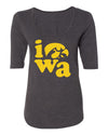 Women's Iowa Hawkeyes Premium Tri-Blend Scoop Neck Tee Shirt - Iowa Stacked