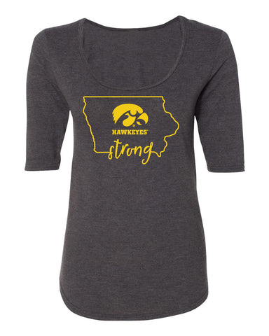 Women's Iowa Hawkeyes Premium Tri-Blend Scoop Neck Tee Shirt - Hawkeyes Strong State Outline