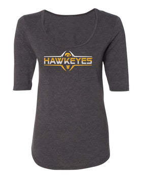 Women's Iowa Hawkeyes Premium Tri-Blend Scoop Neck Tee Shirt - Striped HAWKEYES Football Laces