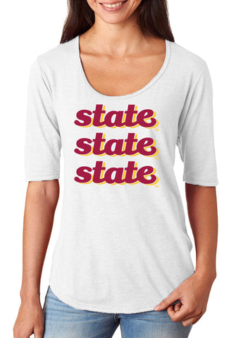 Women's Iowa State Cyclones Premium Tri-Blend Scoop Neck Tee Shirt - State x 3