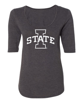 Women's Iowa State Cyclones Premium Tri-Blend Scoop Neck Tee Shirt - I-State Primary Logo Blackout