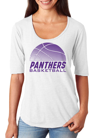 Women's Northern Iowa Panthers Premium Tri-Blend Scoop Neck Tee Shirt - Panthers Basketball
