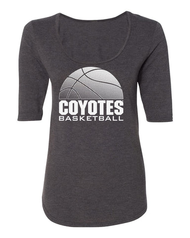 Women's South Dakota Coyotes Premium Tri-Blend Scoop Neck Tee Shirt - Coyotes Basketball