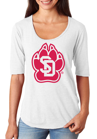 Women's South Dakota Coyotes Premium Tri-Blend Scoop Neck Tee Shirt - SD Coyote Paw