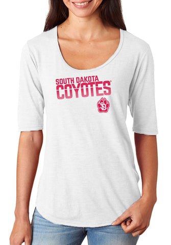 Women's South Dakota Coyotes Premium Tri-Blend Scoop Neck Tee Shirt - Coyotes Stripe Fade