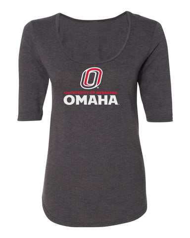 Women's Omaha Mavericks Premium Tri-Blend Scoop Neck Tee Shirt - University of Nebraska Omaha with Primary Logo on Gray