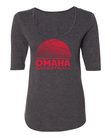 Women's Omaha Mavericks Premium Tri-Blend Scoop Neck Tee Shirt - UNO Basketball