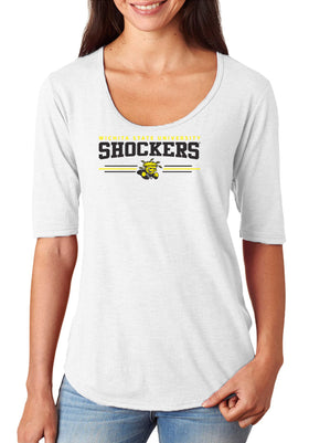 Women's Wichita State Shockers Premium Tri-Blend Scoop Neck Tee Shirt - Wichita State Shockers 3 Stripe