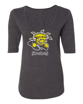Women's Wichita State Shockers Premium Tri-Blend Scoop Neck Tee Shirt - Wu Shock Shockers