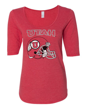 Women's Utah Utes Premium Tri-Blend Scoop Neck Tee Shirt - Utah Utes Football Helmet