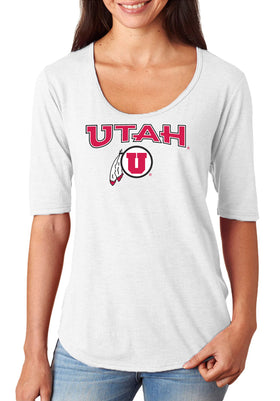 Women's Utah Utes Premium Tri-Blend Scoop Neck Tee Shirt - Circle & Feather Logo
