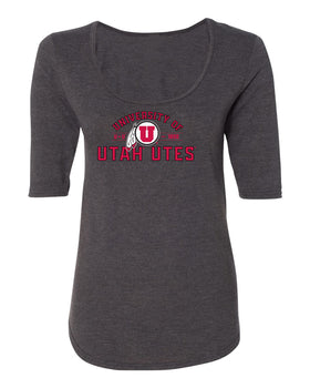 Women's Utah Utes Premium Tri-Blend Scoop Neck Tee Shirt - U of U Arch with Circle Feather Logo
