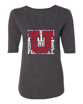 Women's Utah Utes Premium Tri-Blend Scoop Neck Tee Shirt - Utah Utes Football Tradition