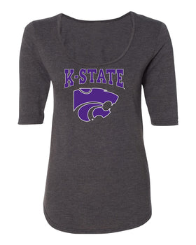 Women's K-State Wildcats Premium Tri-Blend Scoop Neck Tee Shirt - K-State Powercat with Outline