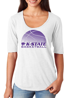 Women's K-State Wildcats Premium Tri-Blend Scoop Neck Tee Shirt - K-State Basketball