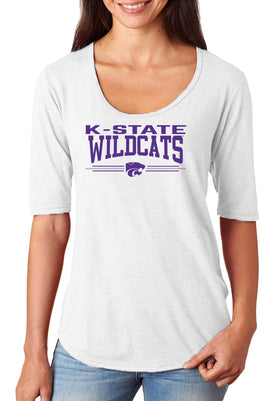 Women's K-State Wildcats Premium Tri-Blend Scoop Neck Tee Shirt - K-State Wildcats 3 Stripe Powercat